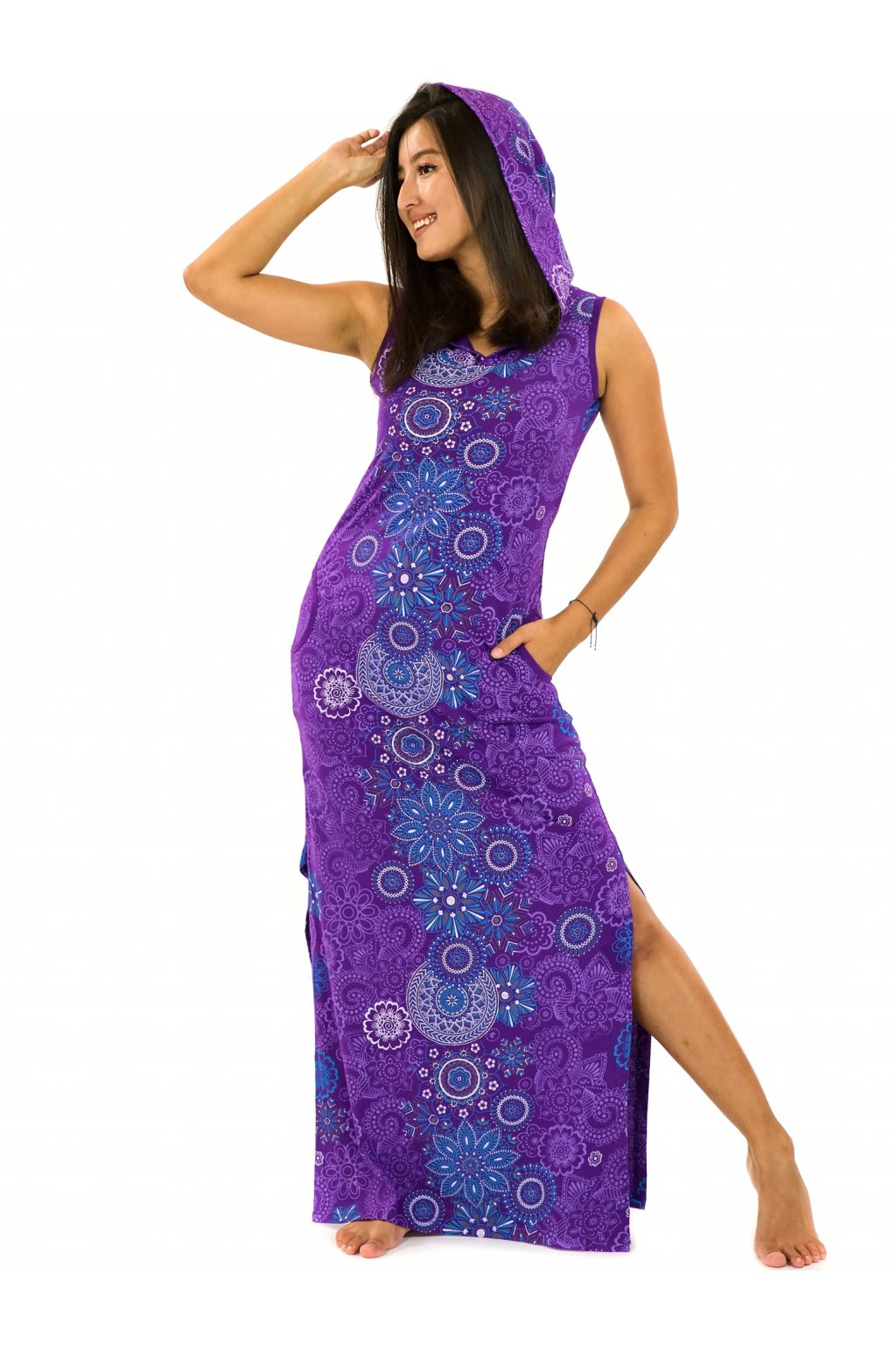 Dlouhé šaty s kapucí Sharma - fialová