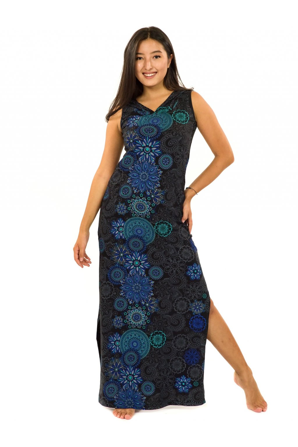 Dlouhé šaty s kapucí Sharma - černá s modrou