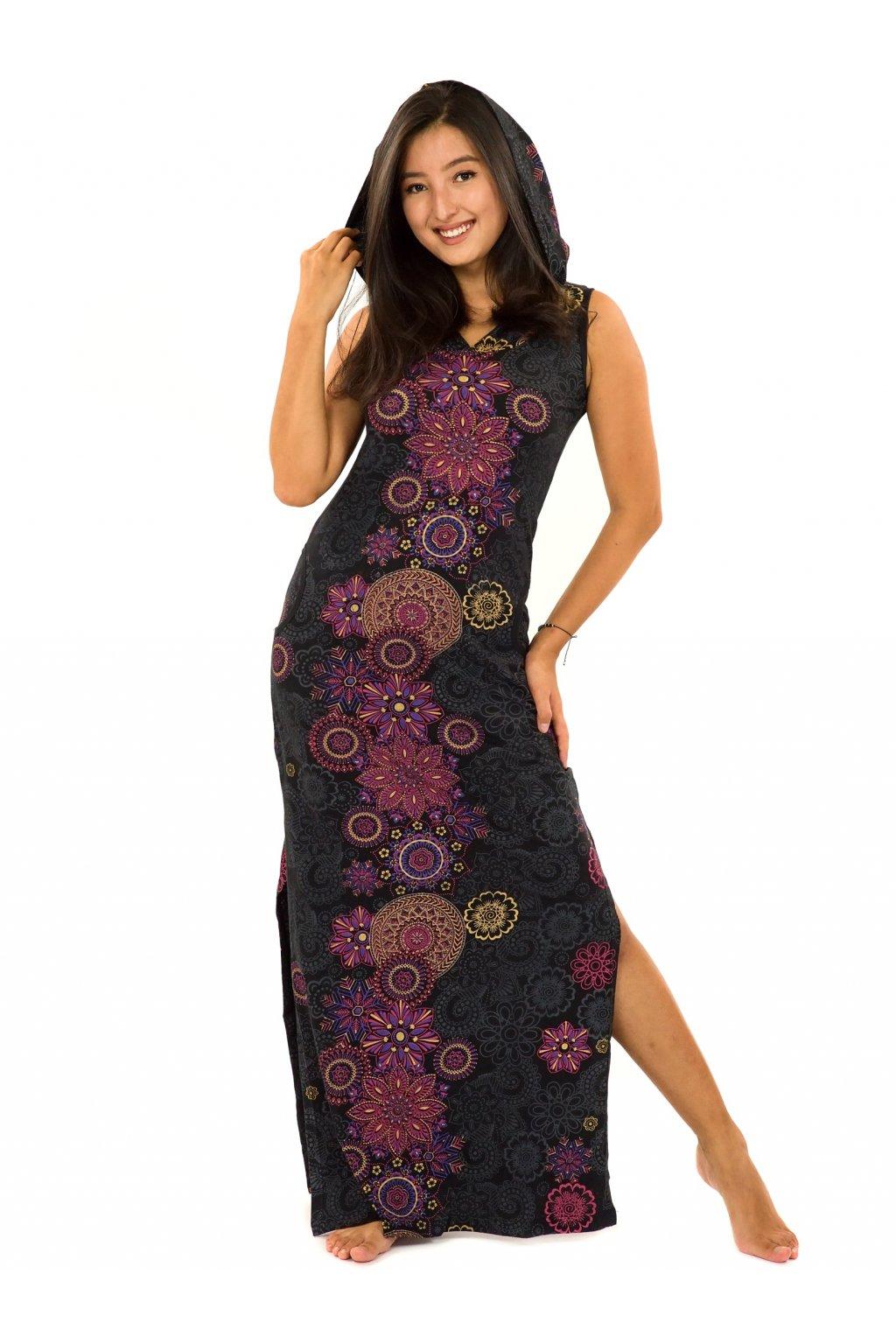 Dlouhé šaty s kapucí Sharma - černá s růžovou