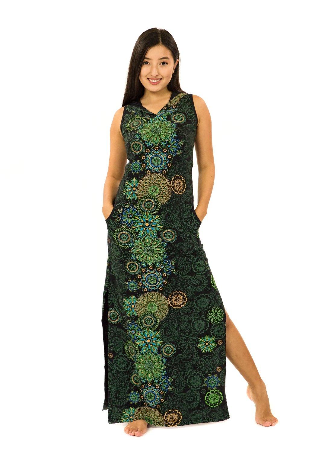 Dlouhé šaty s kapucí Sharma - černá se zelenou