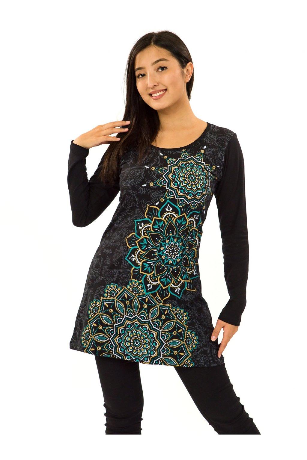 Šaty s dlouhým rukávem Taika - černá s tyrkysovou a žlutou