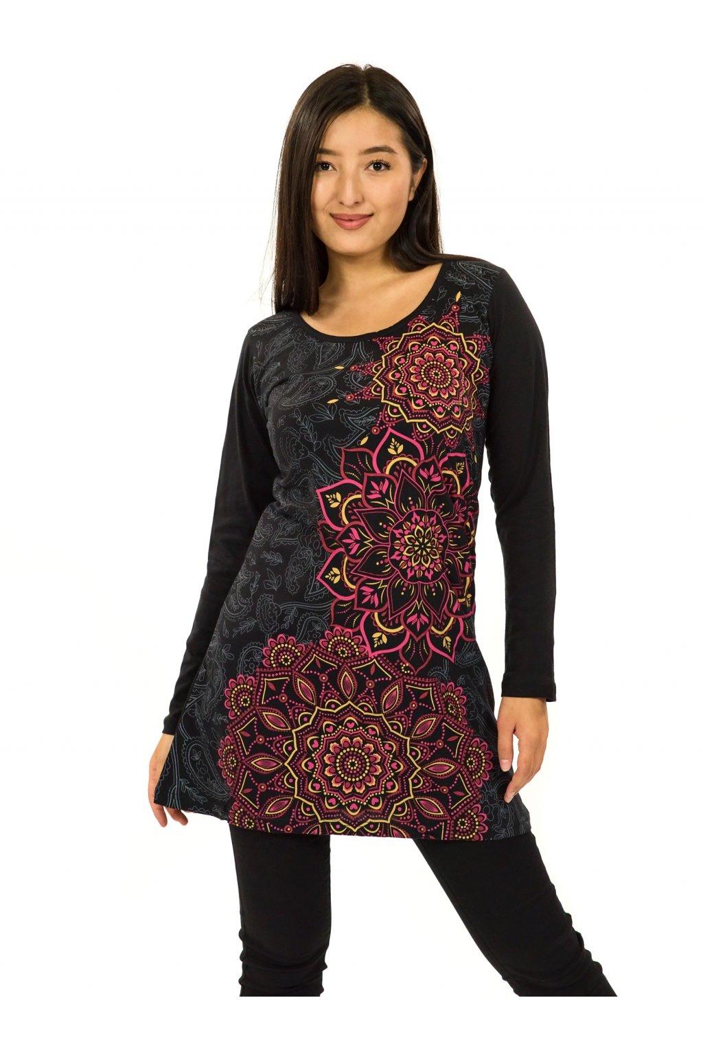 Šaty s dlouhým rukávem Taika - černá s růžovou