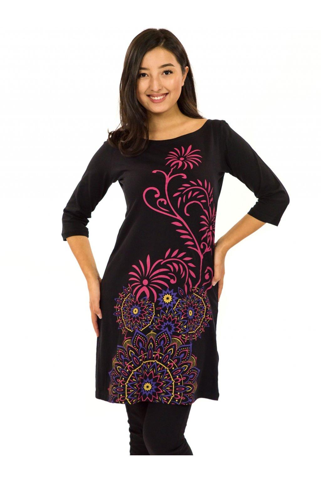 Šaty s 3/4 rukávem Krisha - černá s růžovou