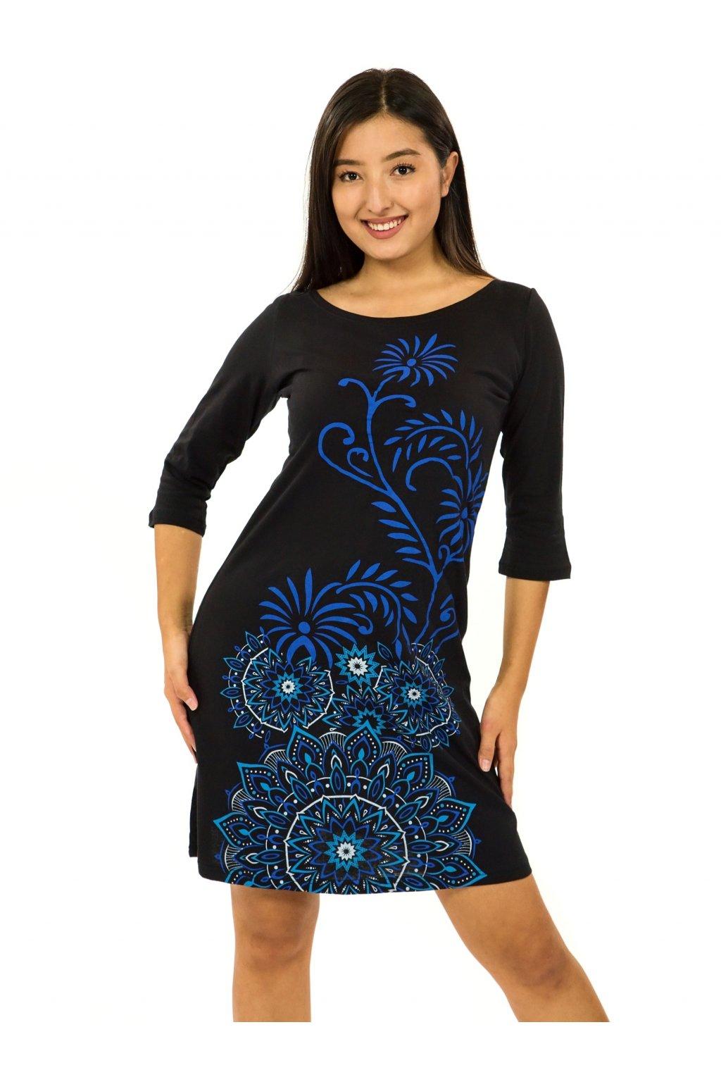 Šaty s 3/4 rukávem Krisha - černá s modrou