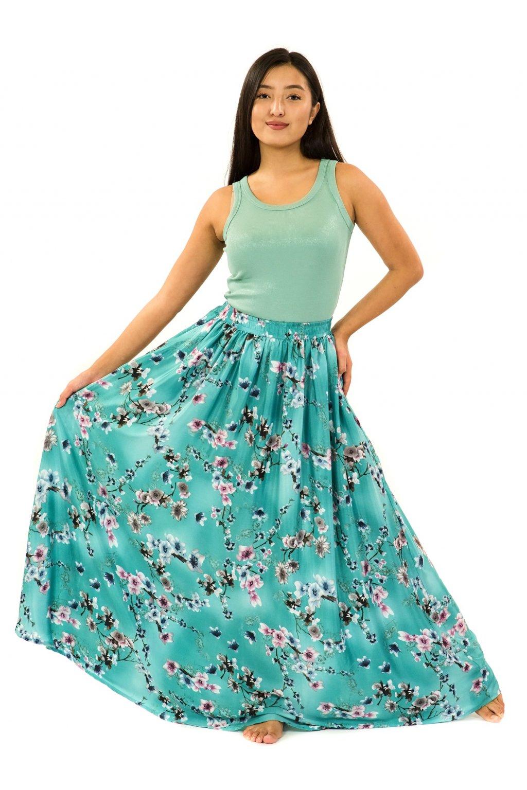 Maxi sukně s kapsami Soha - tyrkysová