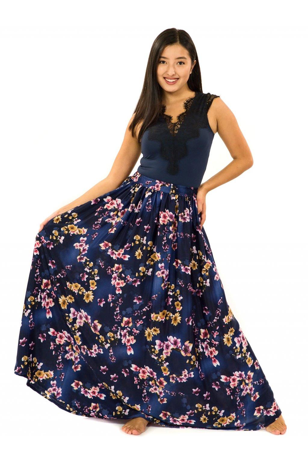 Maxi sukně s kapsami Soha - tmavě modrá