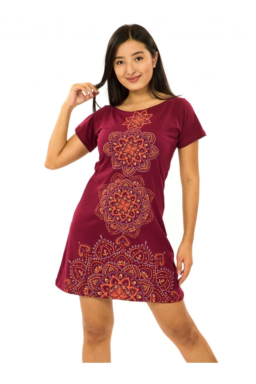 Šaty s krátkým rukávem Amavi - vínová