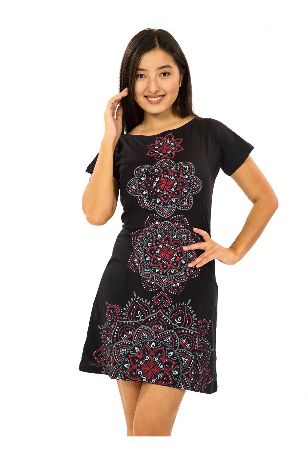 Šaty s krátkým rukávem Amavi - černá s červenou