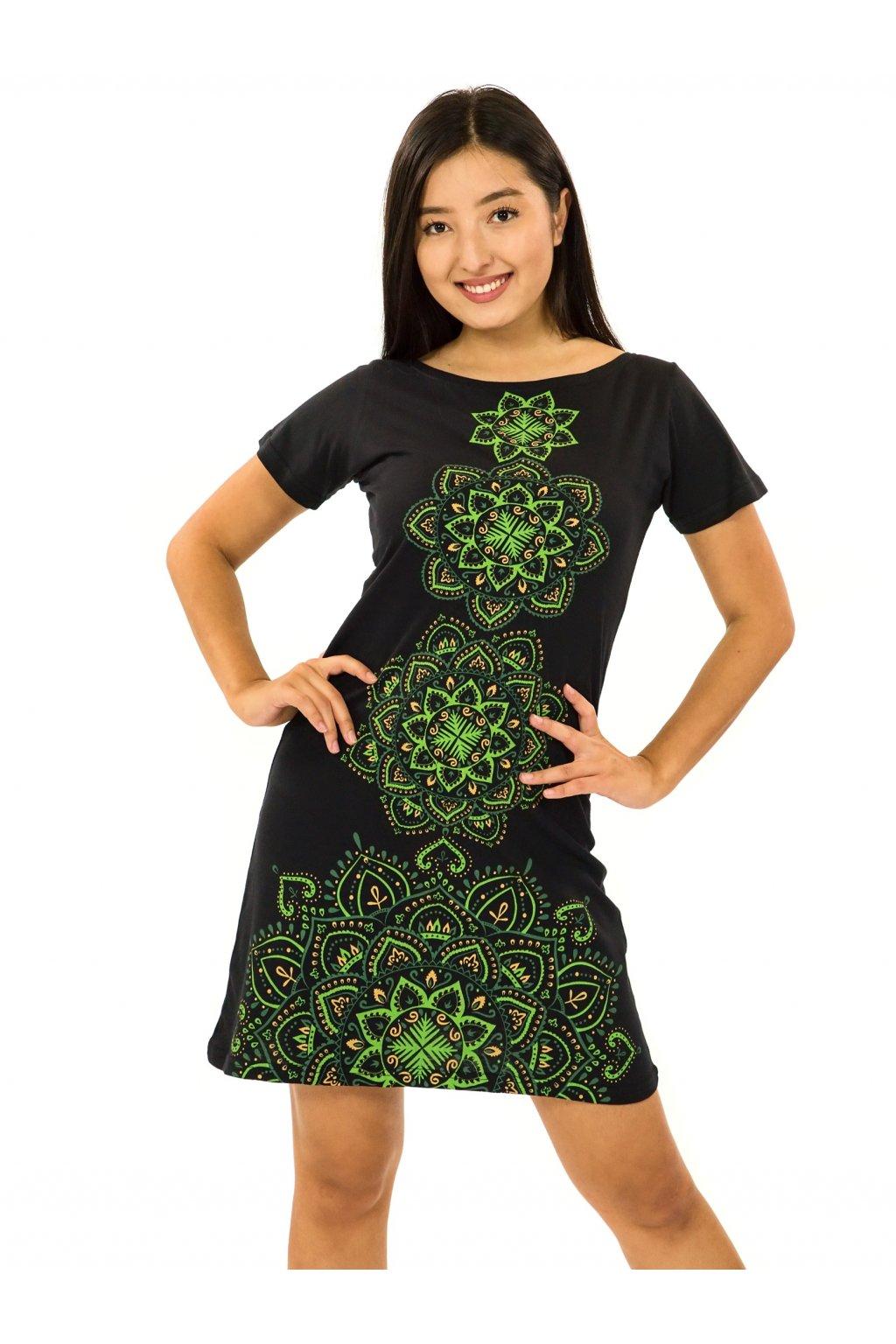 Šaty s krátkým rukávem Amavi - černá se zelenou