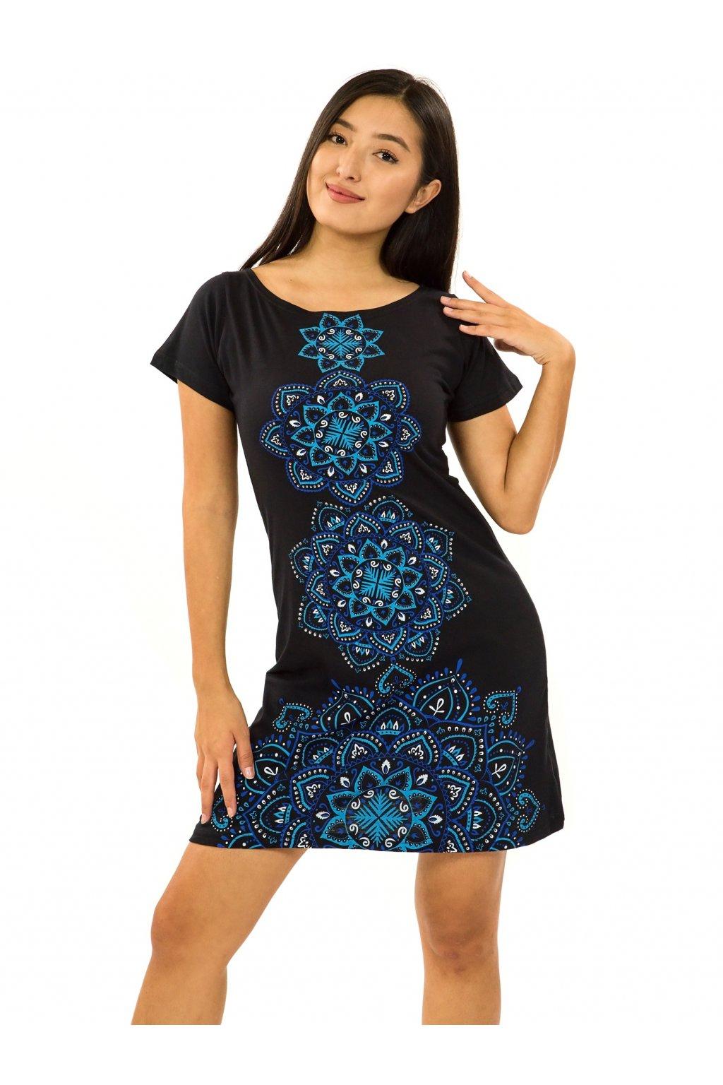 Šaty s krátkým rukávem Amavi - černá s modrou