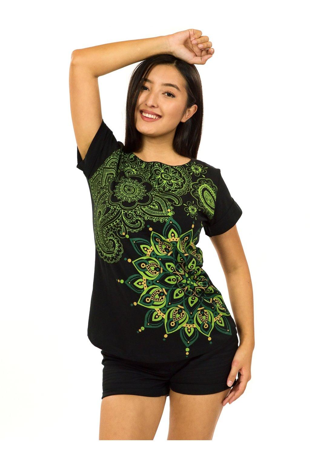 Tričko s krátkým rukávem Zafira - černá se zelenou