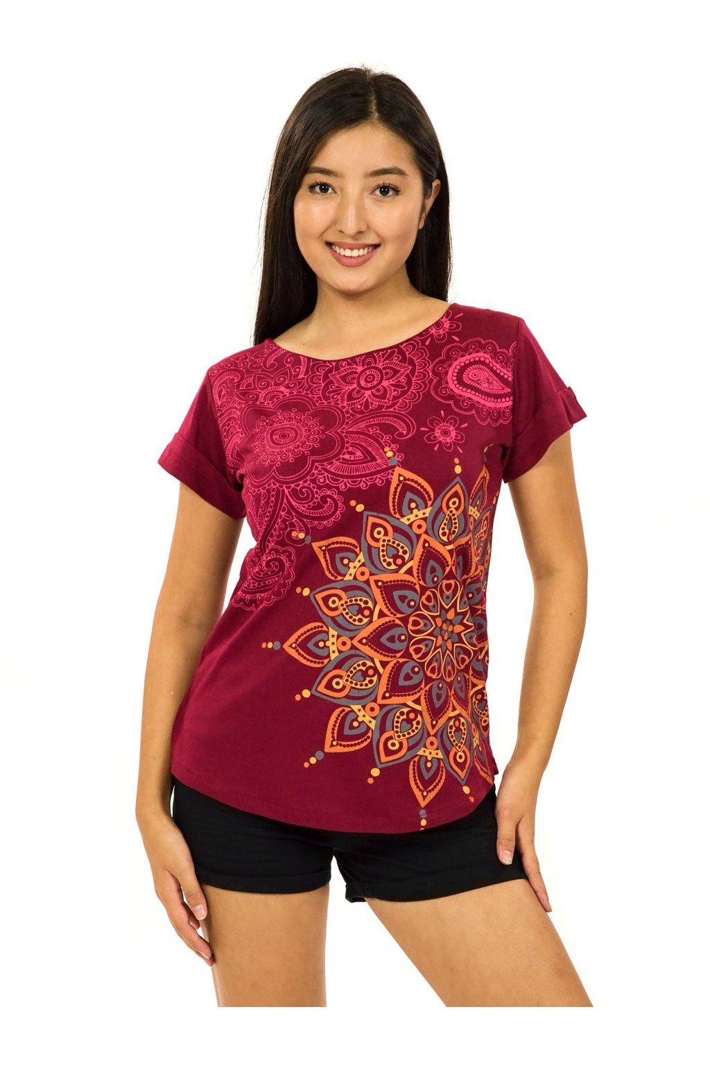 Tričko s krátkým rukávem Zafira - vínová