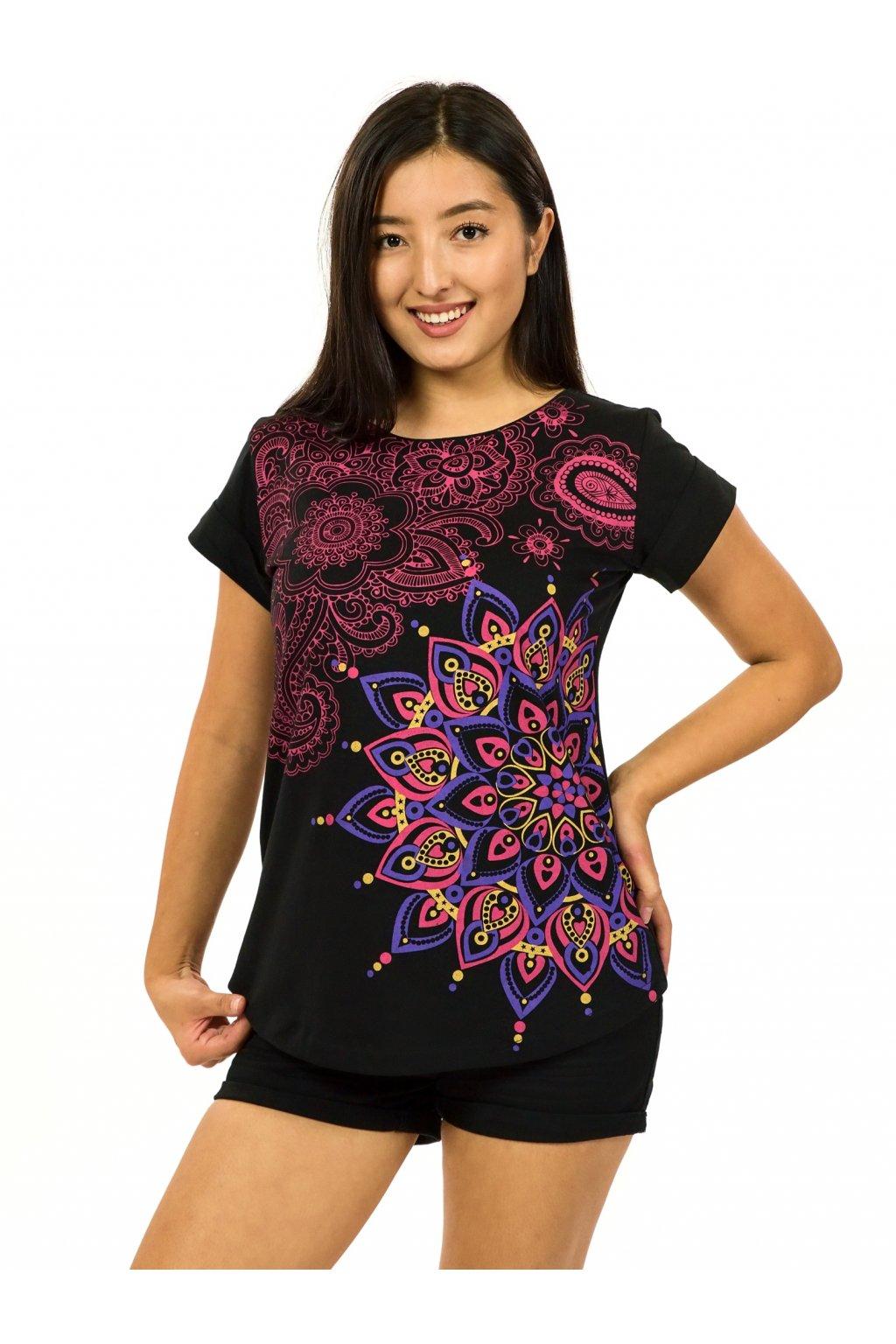 Tričko s krátkým rukávem Zafira - černá s růžovou