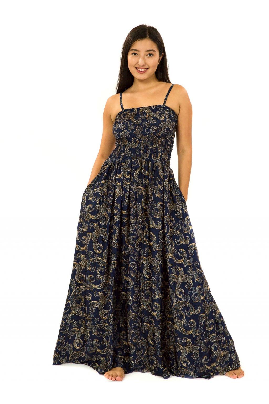 Dlouhé šaty s kapsami Sárí - tmavě modrá se zlatou
