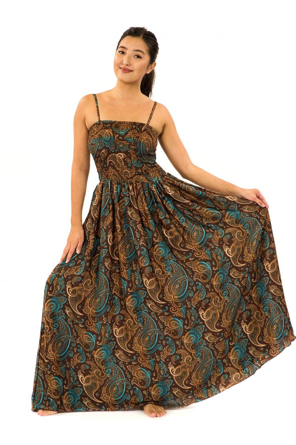 Dlouhé šaty s kapsami Siera - hnědá s tyrkysovou