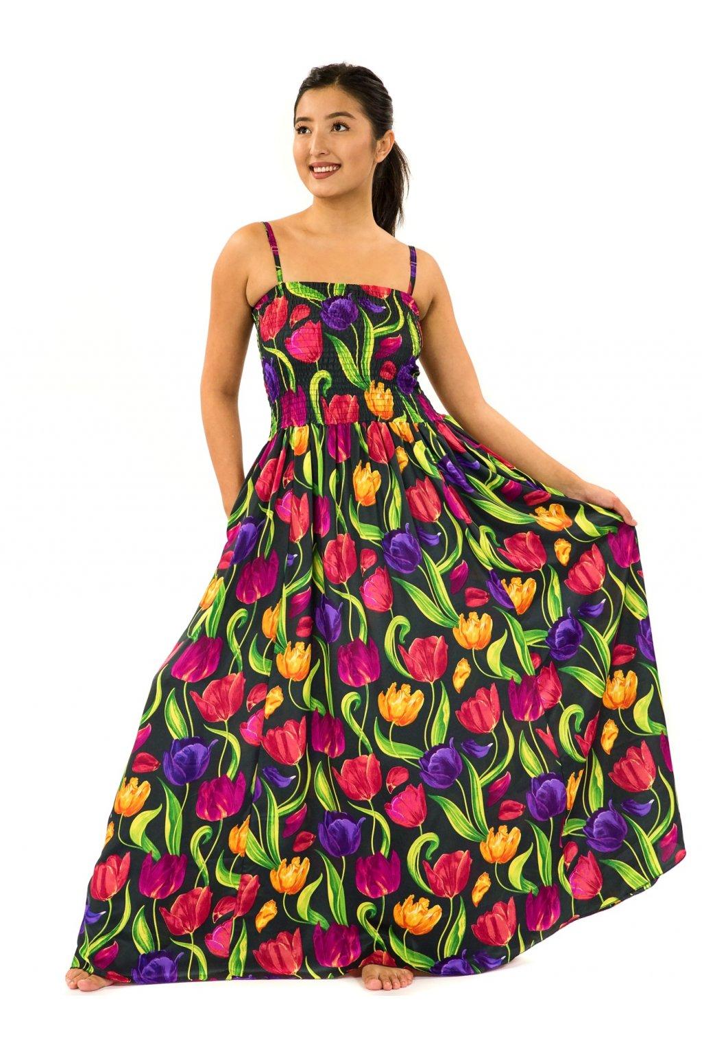 Dlouhé šaty s kapsami Tulipány - černá s barvami