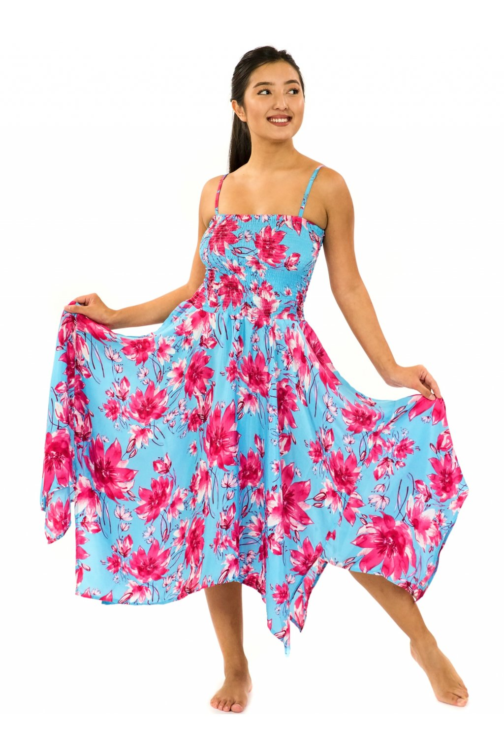 Šaty-sukně 2v1 Dawa Kora - tyrkysová s růžovou