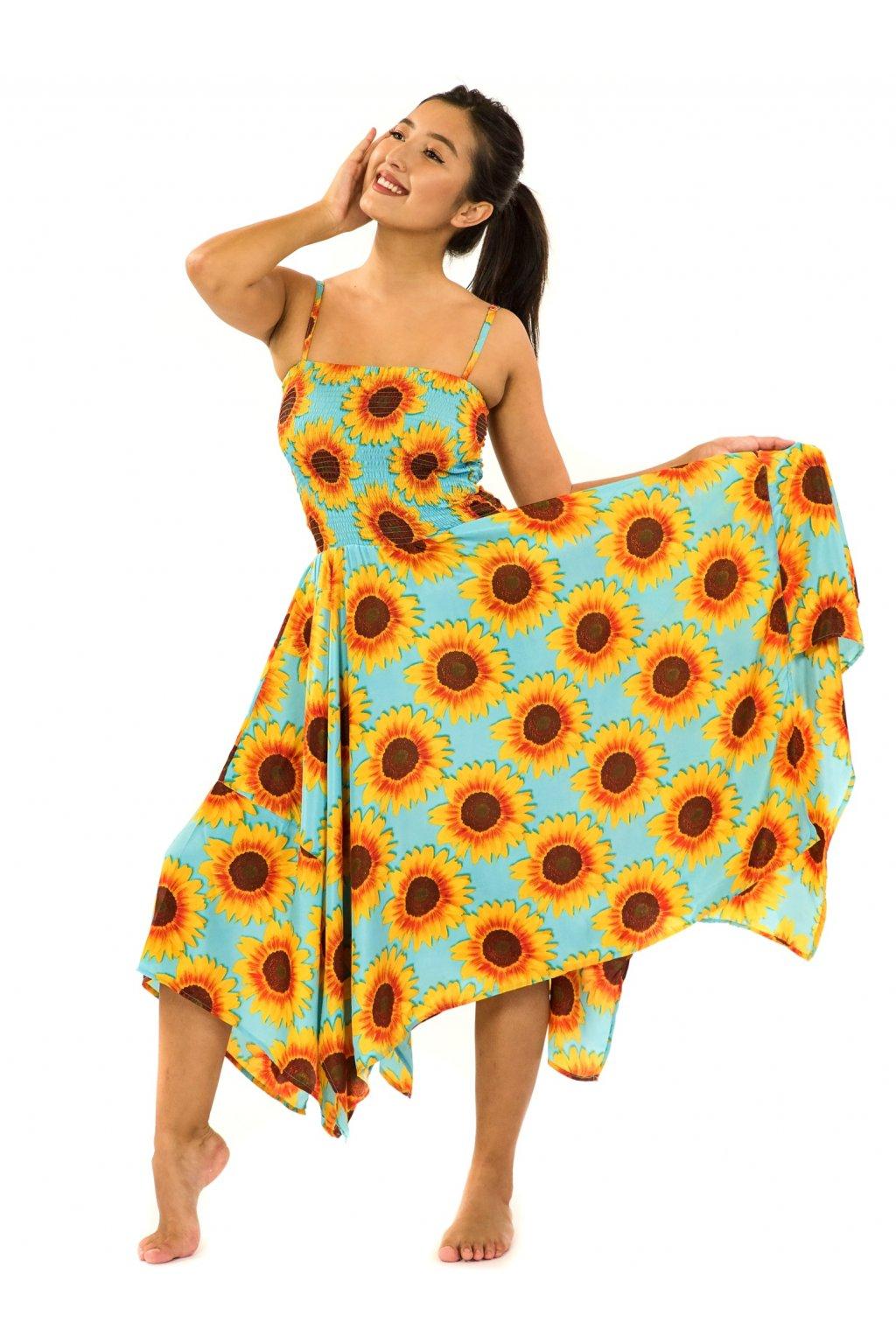 Šaty-sukně 2v1 Dawa Slunečnice - tyrkysová se žlutou