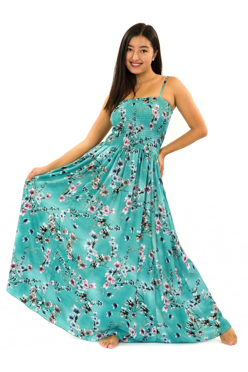 Dlouhé šaty s kapsami Soha - tyrkysová