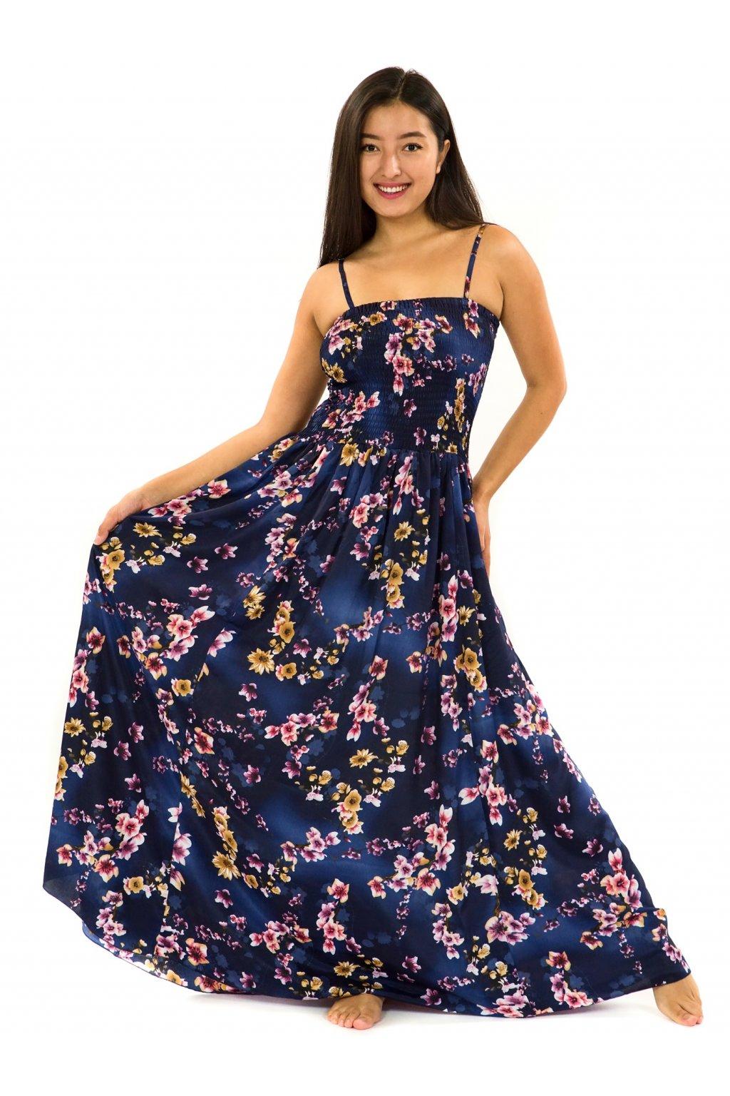 Dlouhé šaty s kapsami Soha - tmavě modrá