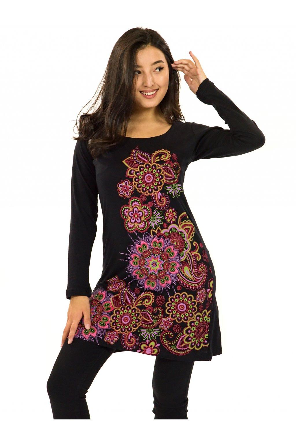 Tunika Waimea - černá s růžovou
