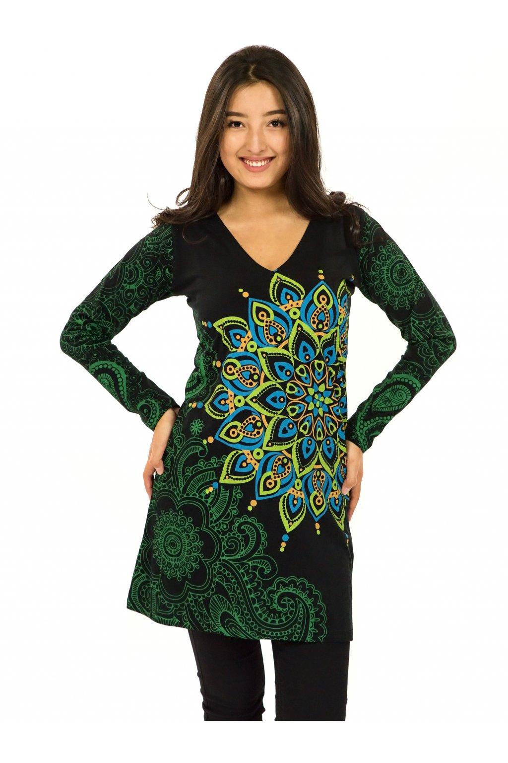 Šaty s dlouhým rukávem Angama - černá se zelenou