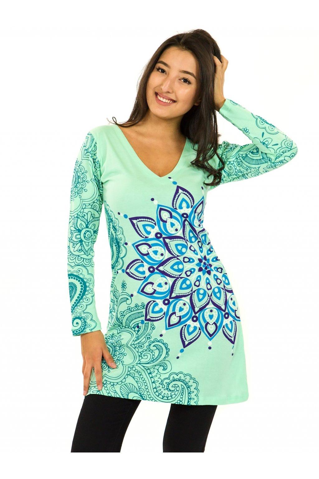 Šaty s dlouhým rukávem Angama - tyrkysová