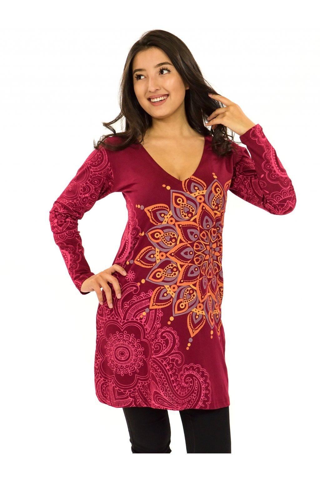 Šaty s dlouhým rukávem Angama  - vínová