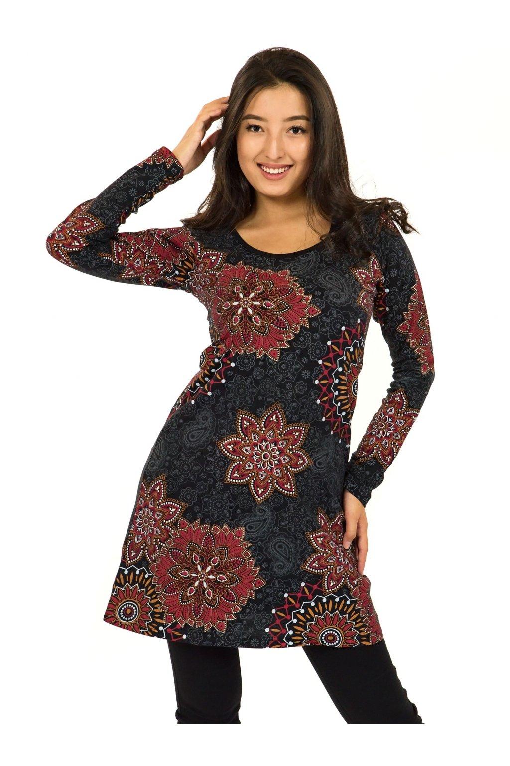 Šaty s dlouhým rukávem Sambora - černá s červenou