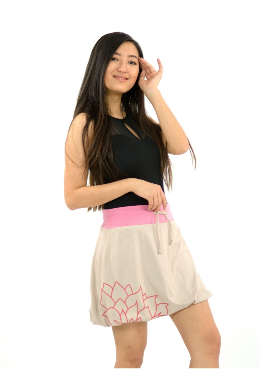 Balónová sukně Lotos - béžová s růžovou