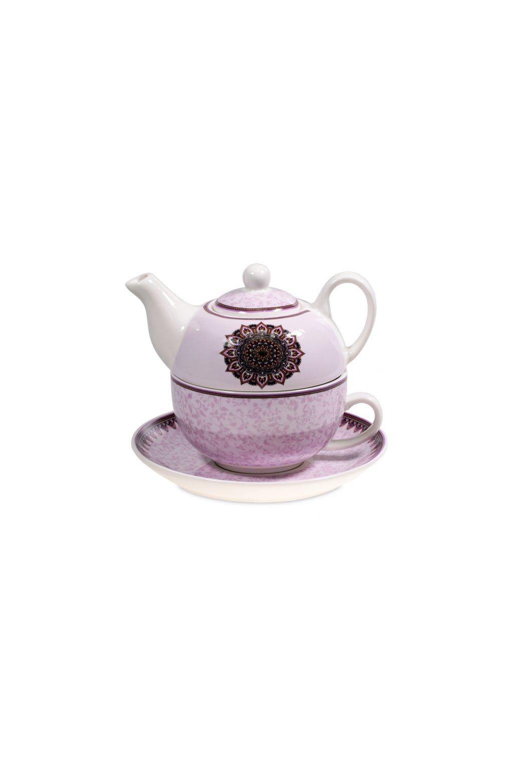 Čajový set s konvičkou Mandala - fialový