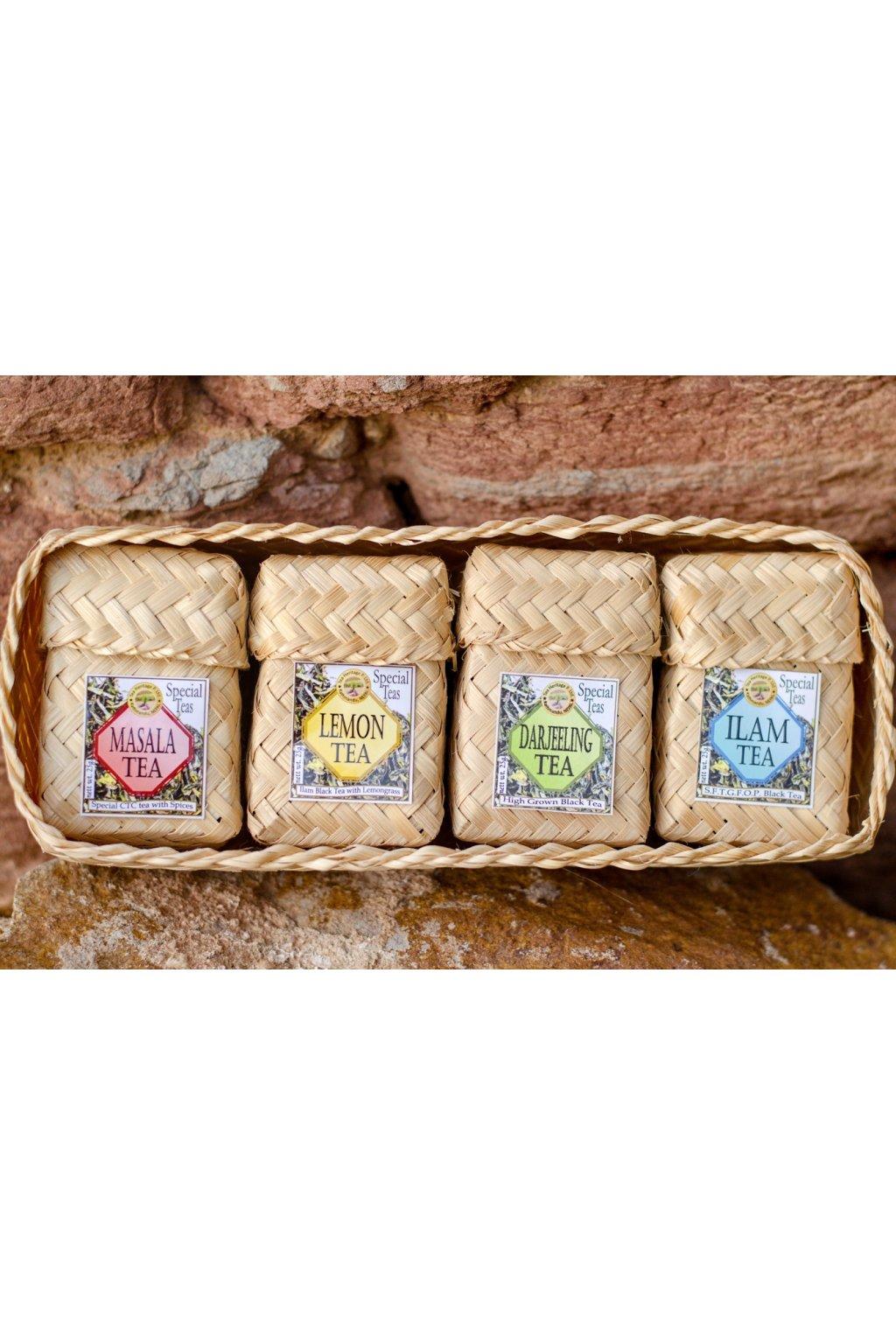 Čtyři druhy čajů v dárkovém balení