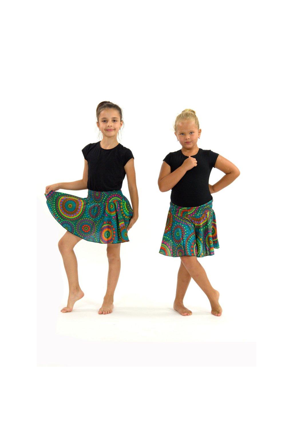 Dětská kolová sukně Dot - tyrkysové