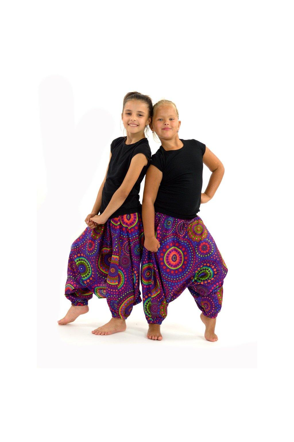 Dětské kalhoty-šaty-top 3v1 Dot - fialové