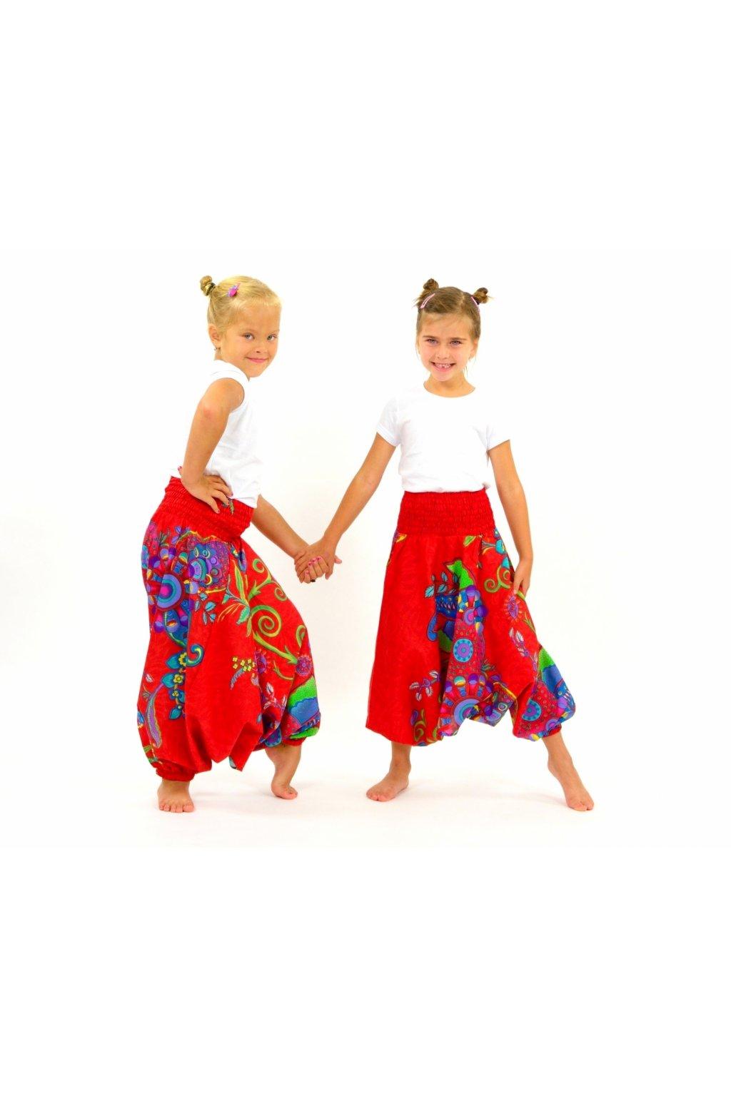 Dětské kalhoty-šaty-top 3v1 Garden of Nepal - jahůdkové