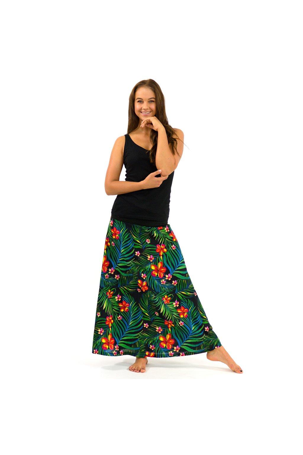 Dlouhá sukně Listy s květy
