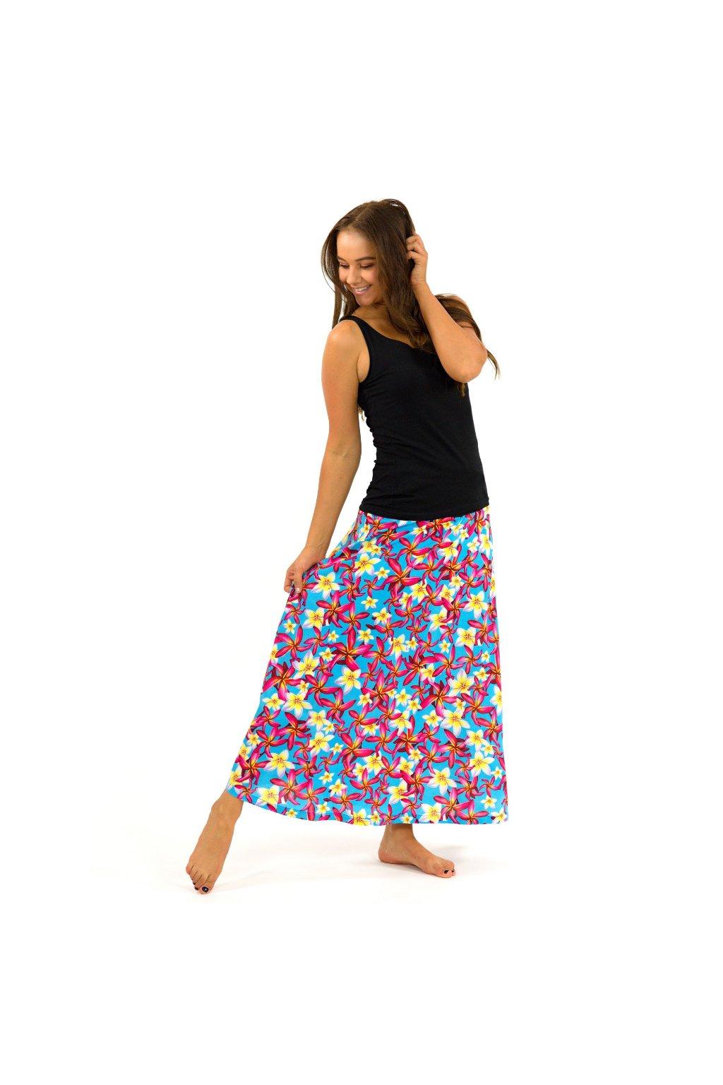 Dlouhá sukně Plumerie - tyrkysová
