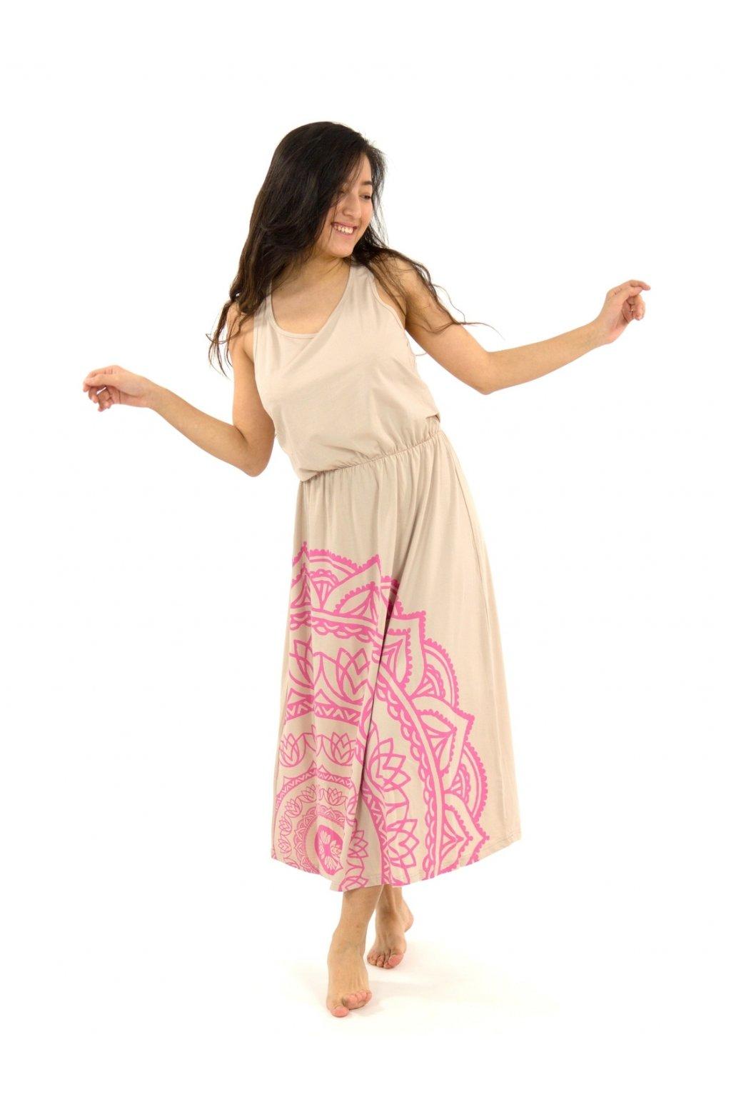 Dlouhé letní šaty Mandala  - béžové s růžovou
