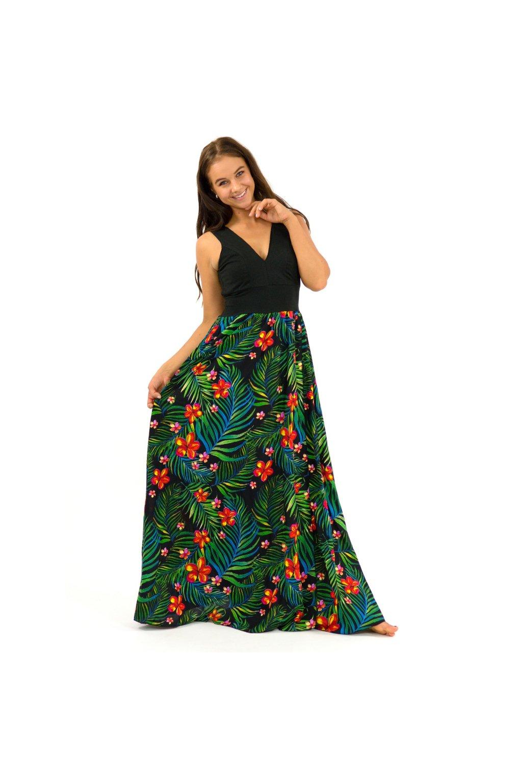 Dlouhé maxi šaty - Listy s květy