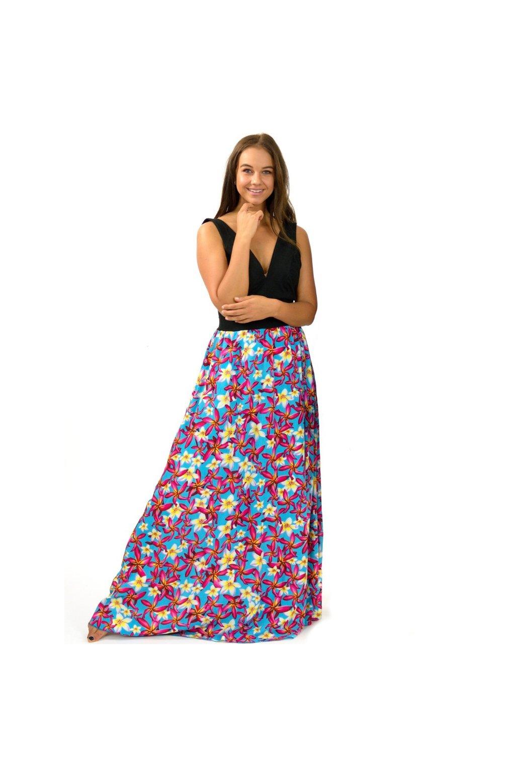 Dlouhé maxi šaty Plumerie - tyrkysové