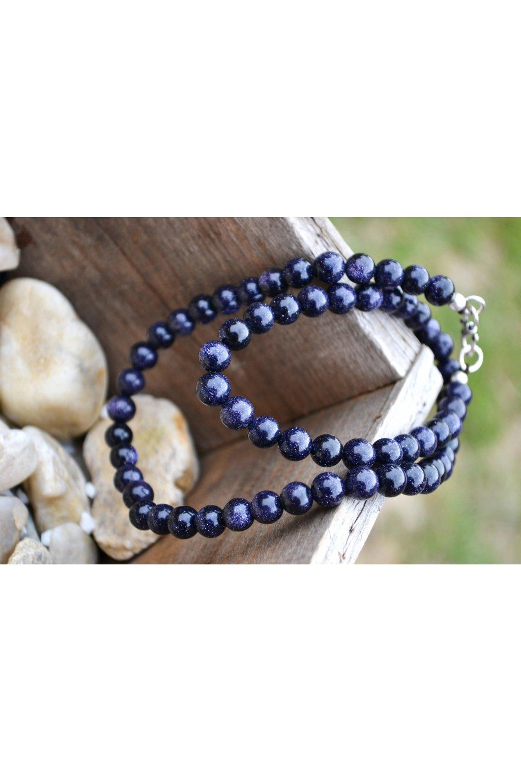 Energetický náhrdelník avanturín modrý