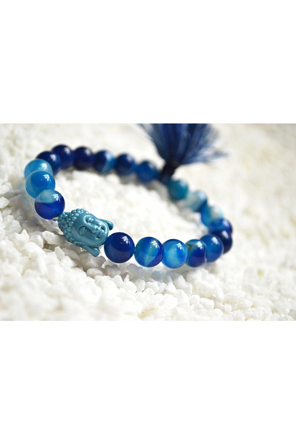 Energetický náramek achát modrý se střapečkem a Buddhou 3