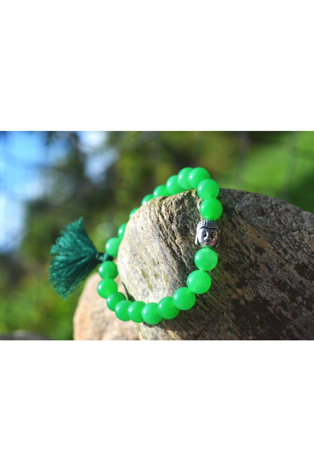 Energetický náramek onyx zelený se střapečkem a Buddhou