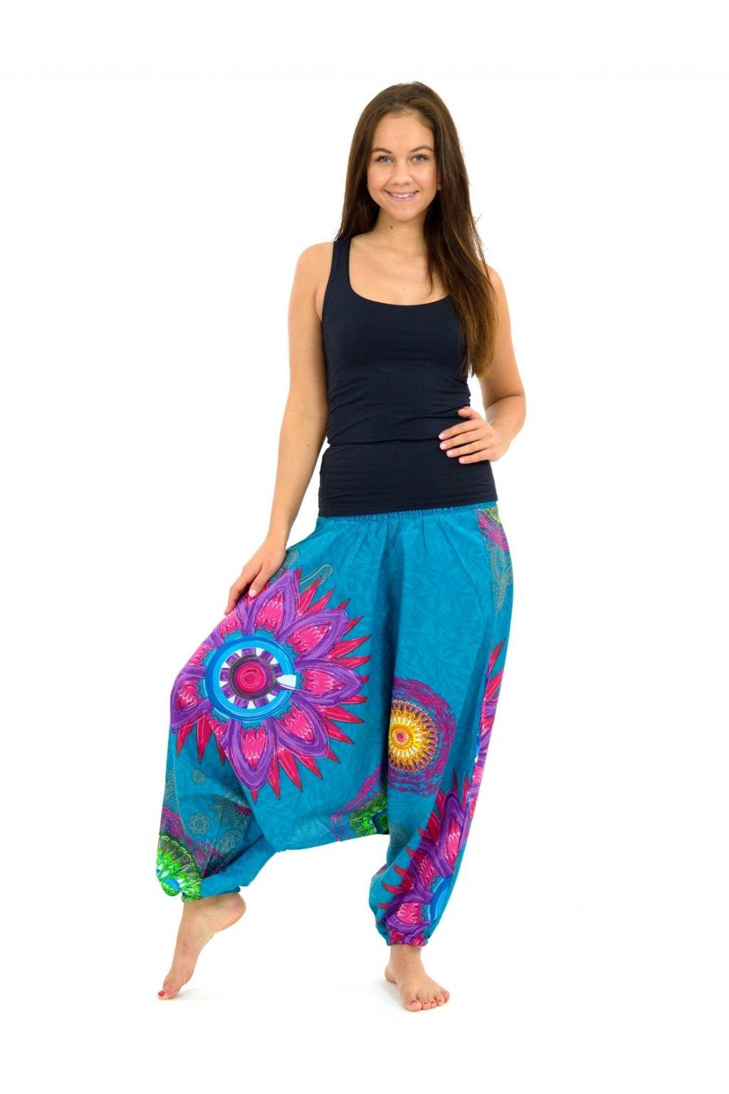 Kalhoty-šaty-top 3v1 Mandala of Nepal - tyrkysové