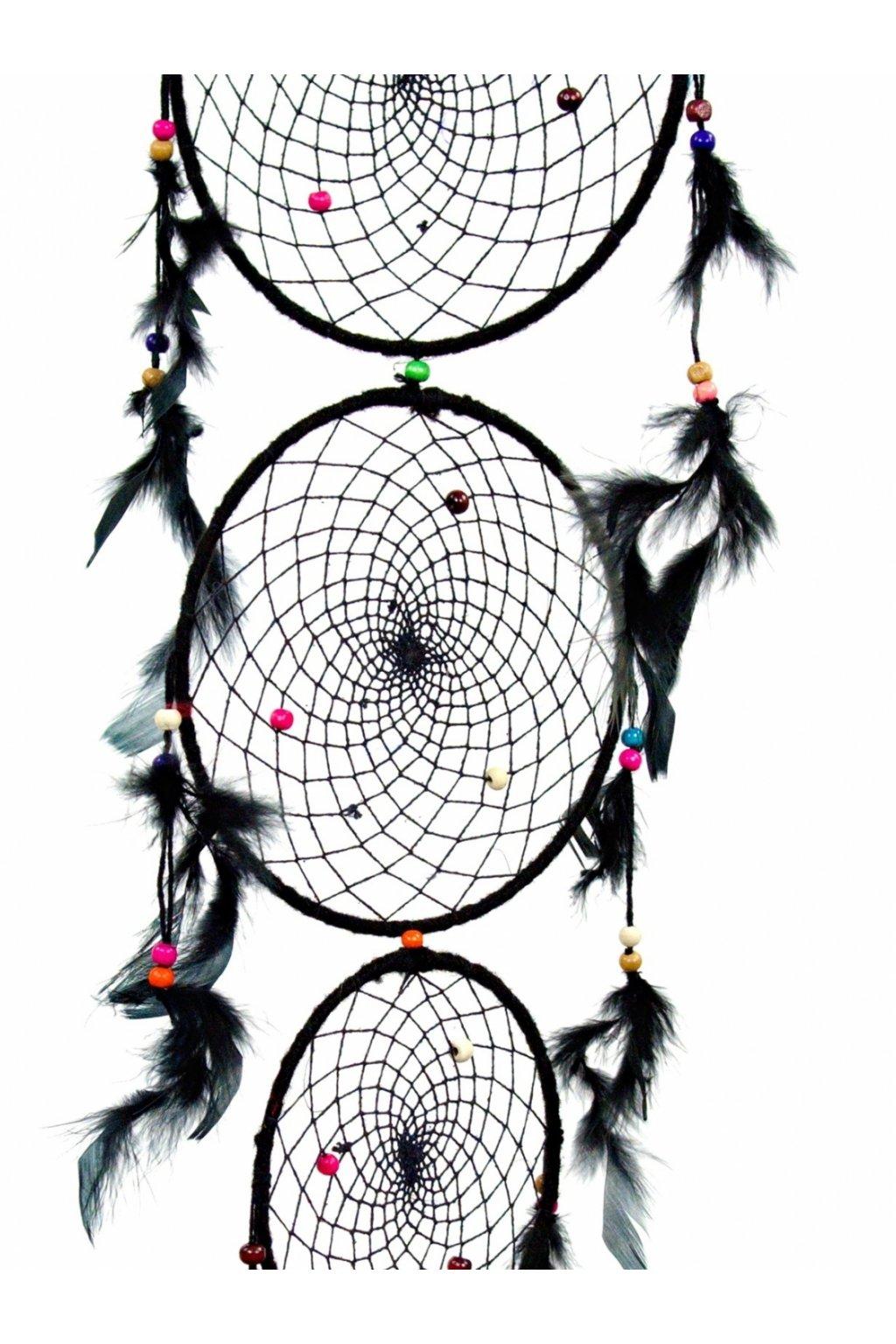 Lapač snů  ručně vyrobený 3v1 - černý