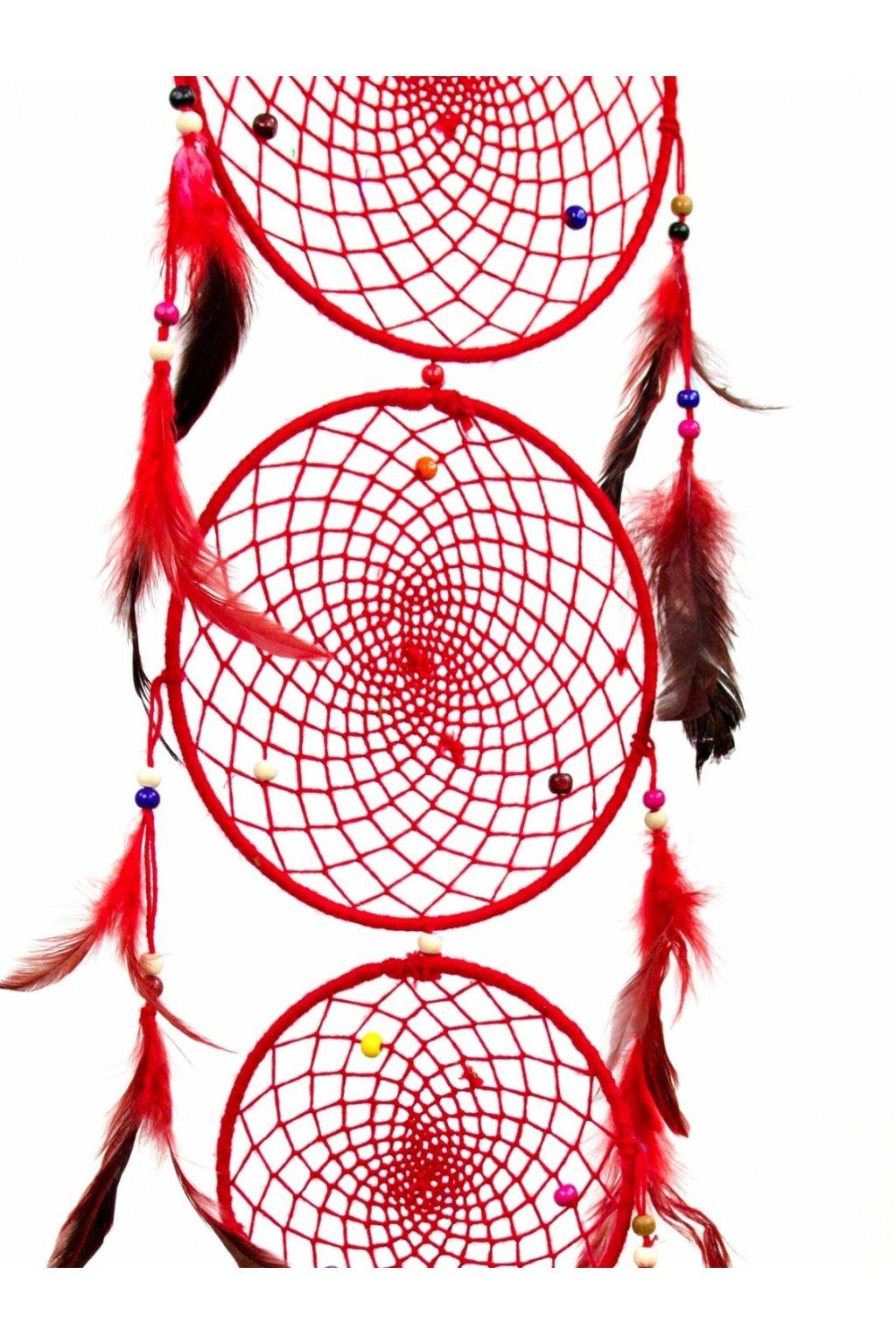 Lapač snů  ručně vyrobený 3v1 - červený