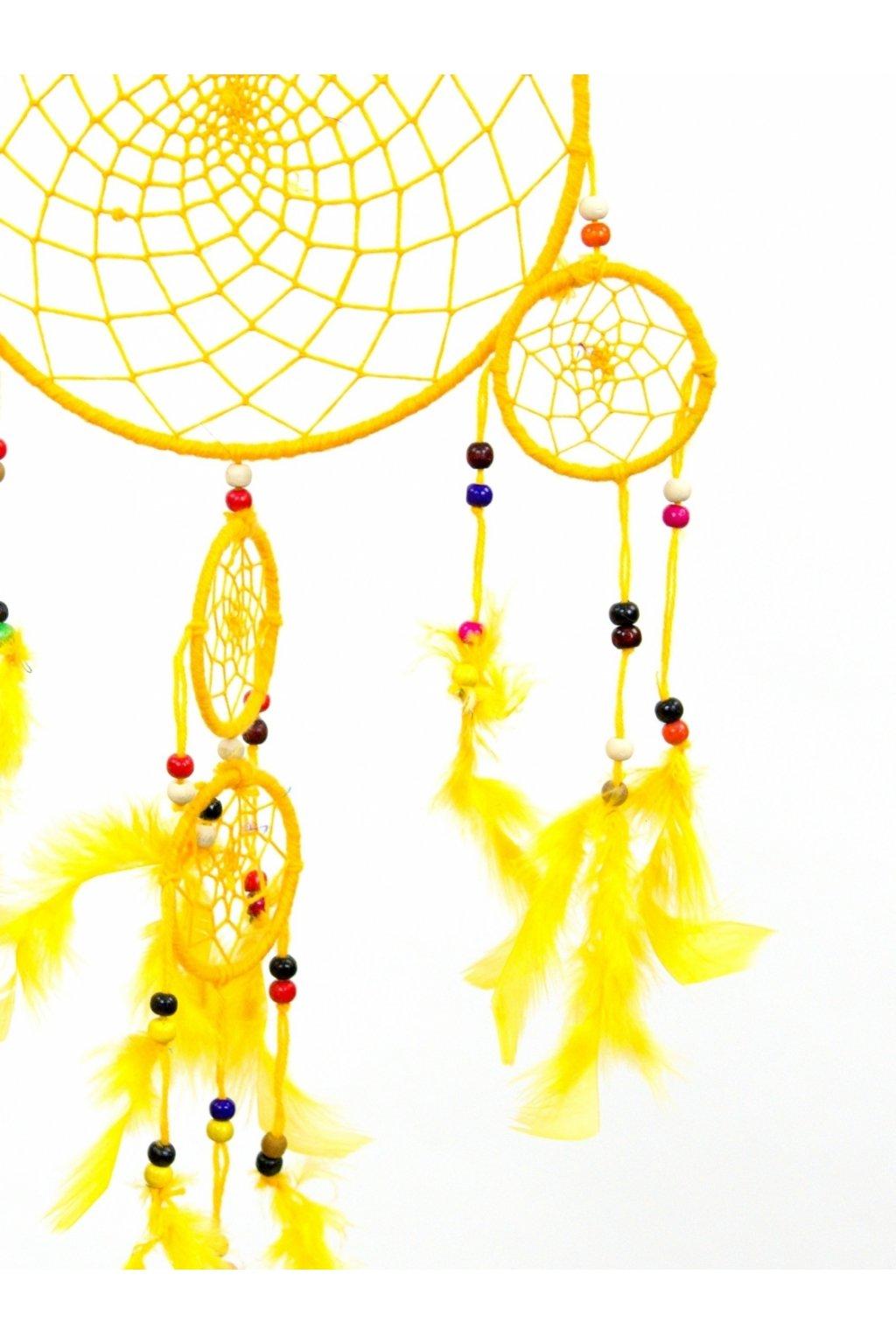 Lapač snů  ručně vyrobený 5v1 - žlutý