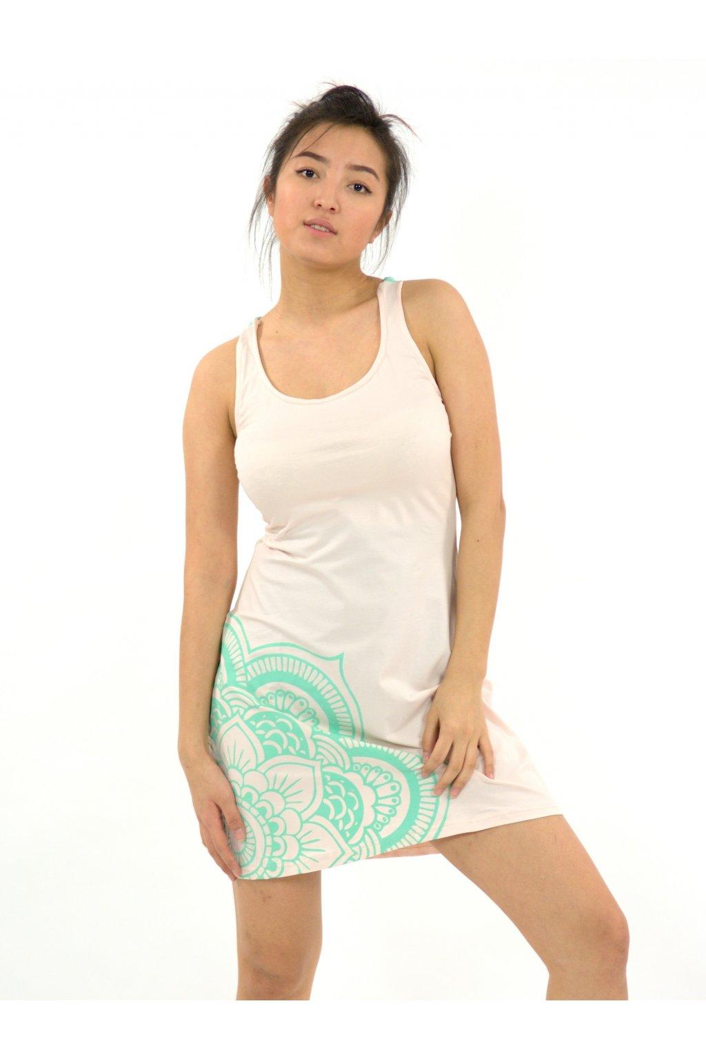 Letní šaty Mandala - starorůžová s tyrkysovou