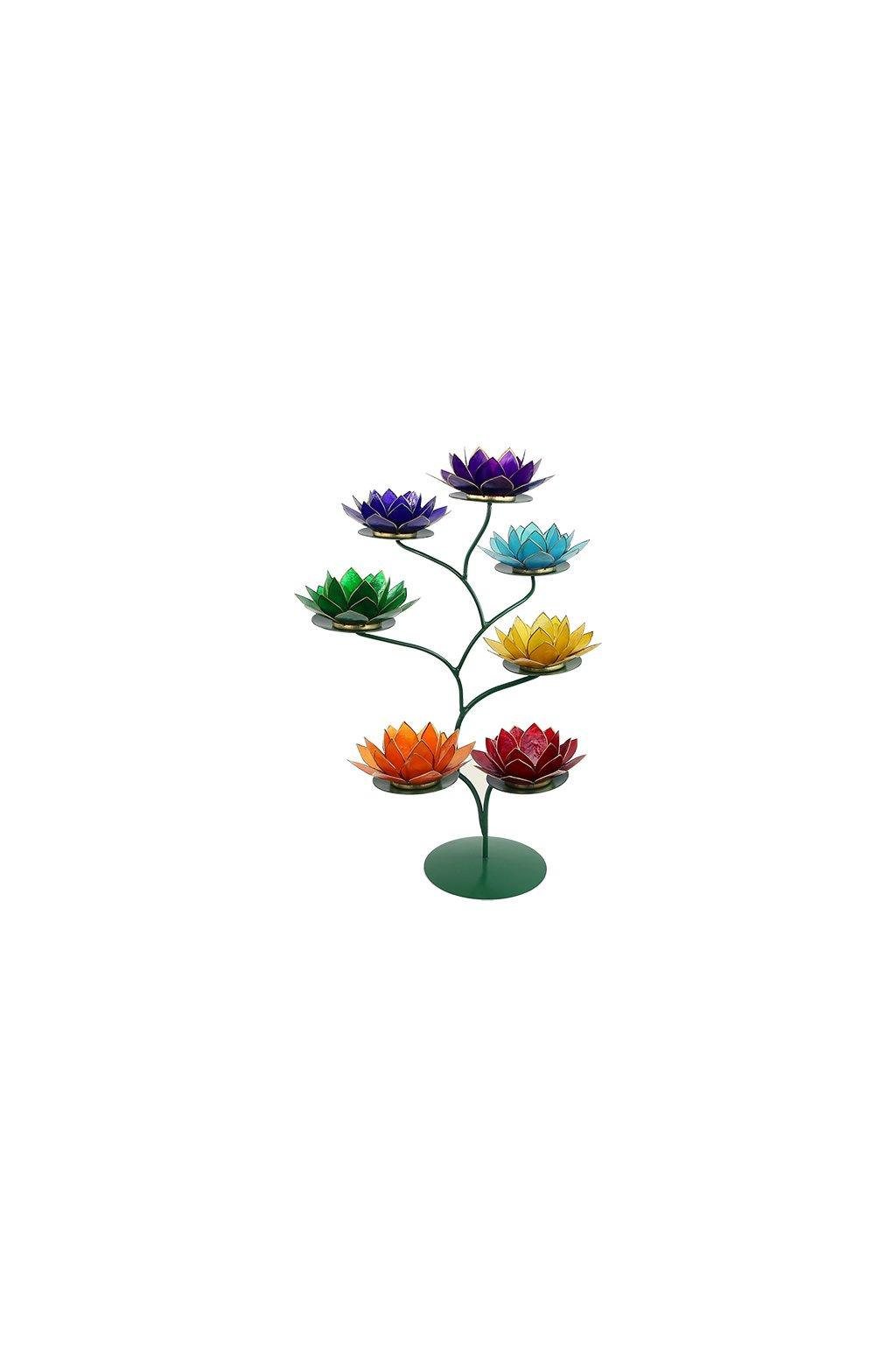 Lotosový strom/svícen 7 čaker - Green