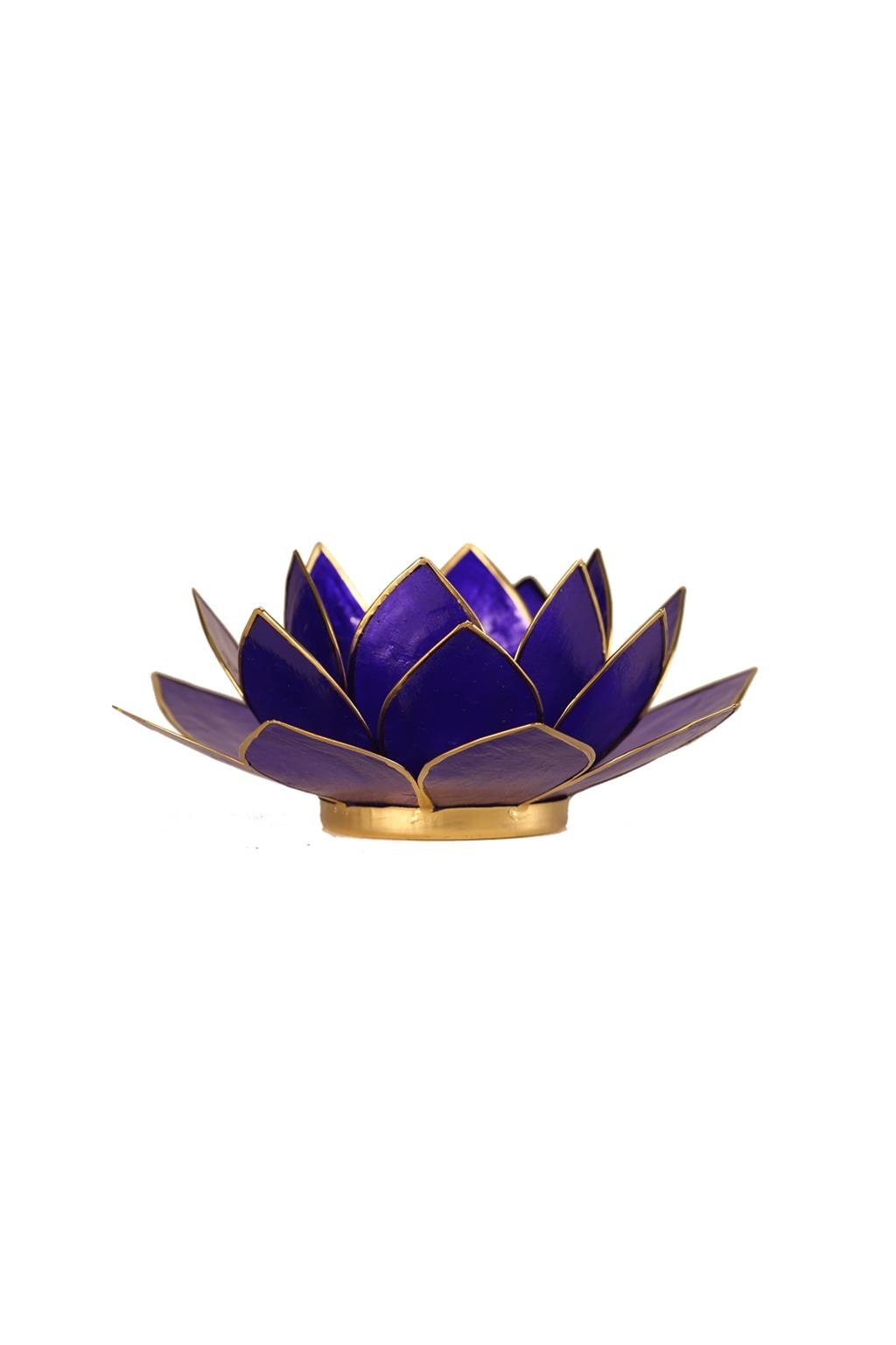 Lotosový svícen 6. čakra - zlatý okraj
